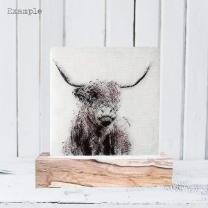 Highland Cow<br/>Wooden Base