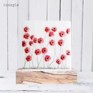 Poppy Spray<br/>Wooden Base